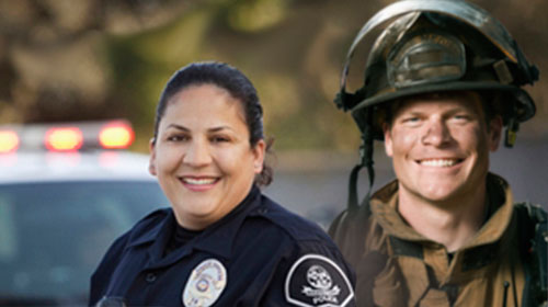 two shot of a firefighter and police officer